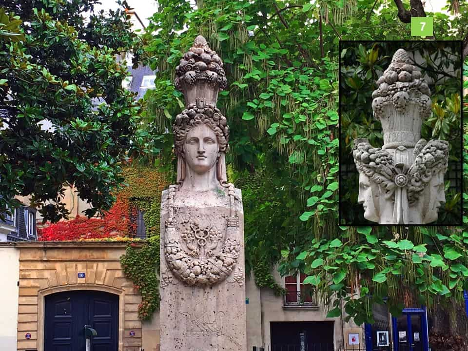 הראש של הרמס שנמצא על המזרקה בכיכר גבריאל פיארנה. צילום: רותי שמעוני