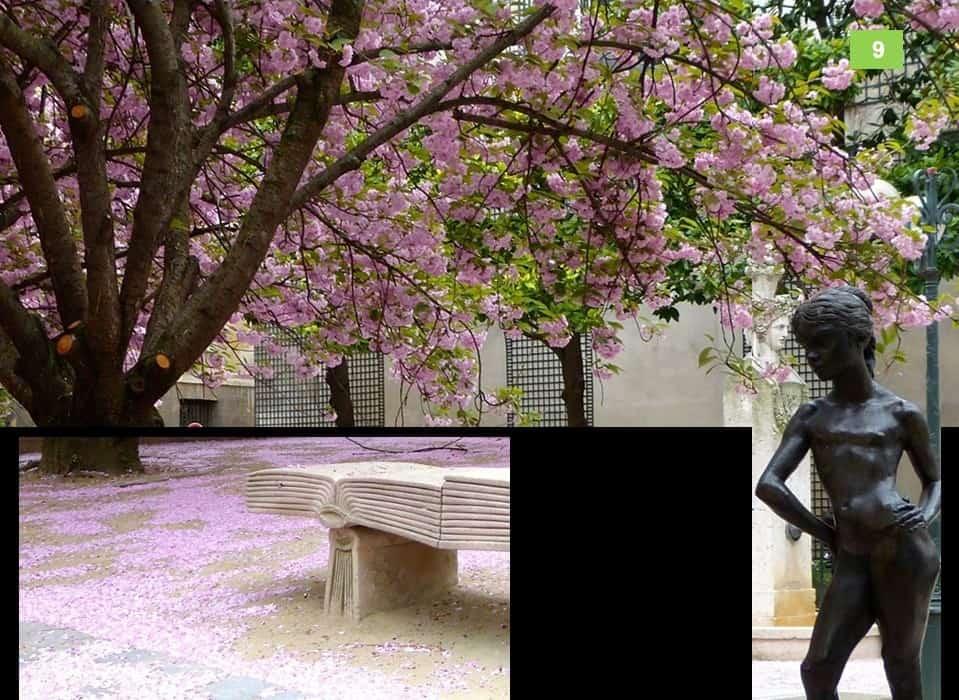 פסלה של קרולינה וספסל בצורת ספר בכיכר גבריאל פיארנה. צילום: רותי שמעוני
