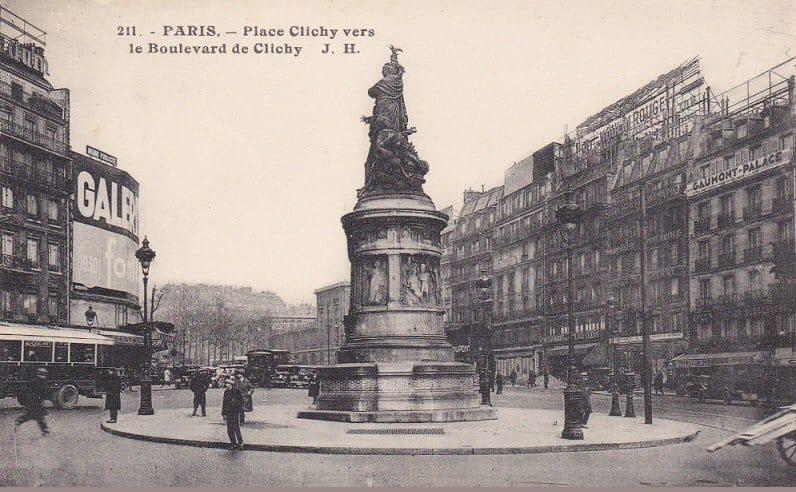 גלויה ישנה של כיכר קלישי מסביבות שנת 1920