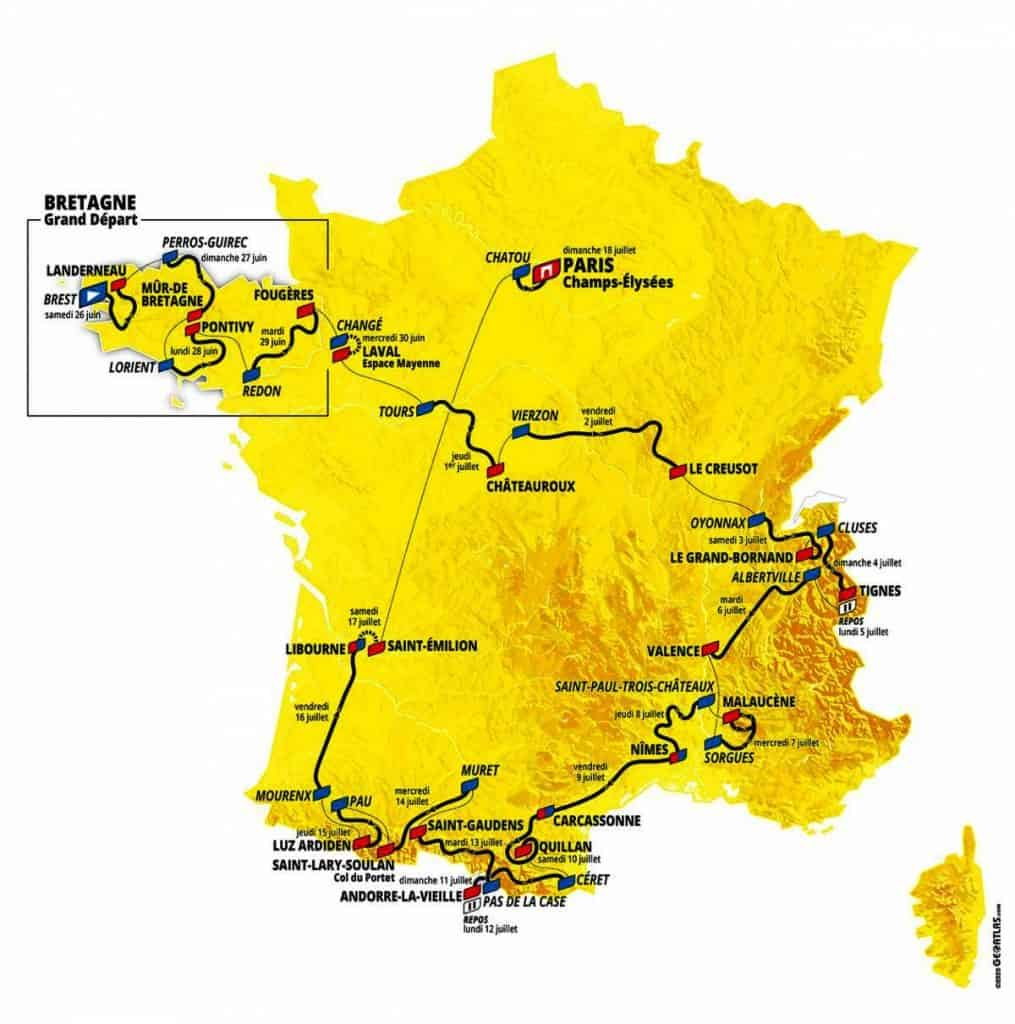 מפת מירוץ הטור דה פראנס של שנת 2021