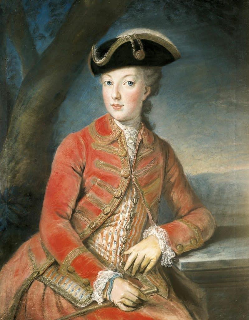 מארי אנטואנט בלבוש ציד. דיוקן משנת 1771 מאת יוזף קרנצינגר (Joseph Krantzinger)