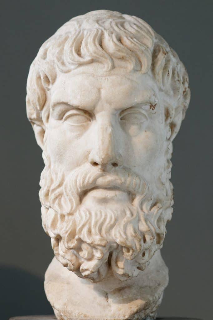 פסל ראש של אפיקורוס. בעתק רומאי לפסל יווני שאבד